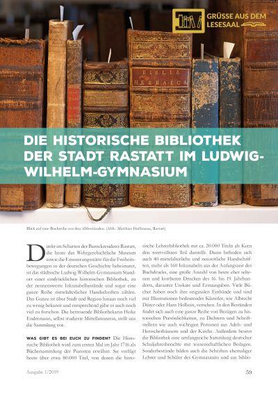 Artikelvorschau: Die Historische Bibliothek der Stadt Rastatt im Ludwig-Wilhelm-Gymnasium