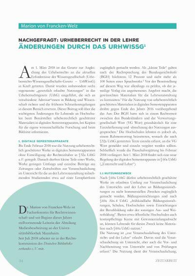 Artikelvorschau: Nachgefragt: Urheberrecht in der Lehre - Änderungen durch das UrhWissG
