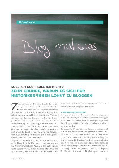Artikelvorschau: Soll ich oder soll ich nicht? - Zehn Gründe, warum es sich für Historiker*innen lohnt zu bloggen